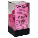 Pink/White Opaque Dice (Cheseex)